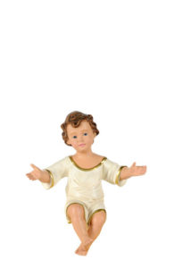 statua di gesù bambino in gesso dipinto a mano di produzione arte basranti presepi