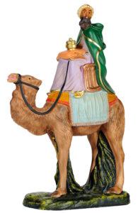 statuina re magio con cammello per presepe in gesso colorato