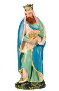 statuina re magio in piedi in gesso colorato made in italy