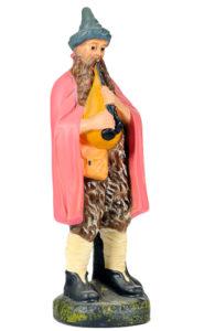 figurina in gesso colorato a mano di zampognaro per presepi