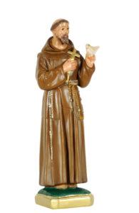 san francesco d'assisi con colomba san michele di produzione arte barsanti statue in gesso e presepi artigianali