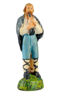 figura in gesso di zampognaro realizzata e dipinta a mano