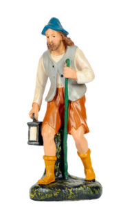 statuina in gesso colorato di pastore per presepe
