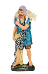 statuina in gesso colorato di pastore e pecora per presepe
