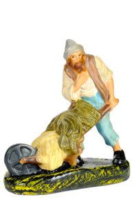 contadino con attrezzo figura in gesso artigianale per presepe made in italy