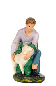 statuina per presepe in gesso colorato a mano per presepi