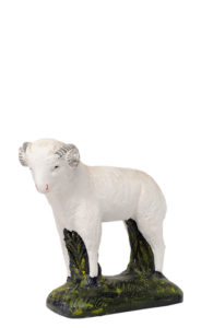 pecora in gesso dipinta a mano di arte barsanti produzione presepi
