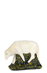 pecorella in gesso dipinto a mano per presepi artigianali made in italy