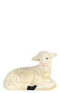 pecorella seduta statuina in gesso colorato dipinta a mano per presepi