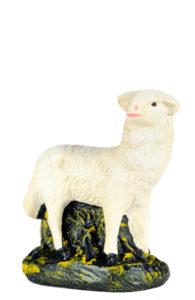 pecorella statuina in gesso per presepe realizzata a mano