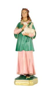 santa agnese statua in gesso dipinta a mano di produzione arte barsanti presepi