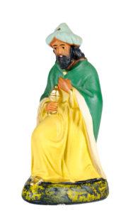 re magio statuina del presepe in gesso realizzata e dipinta a mano