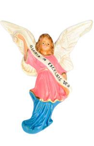 figurina in gesso colorato dipinto a mano di angelo per presepi