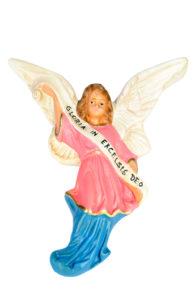 figura di angelo in gesso dipinto a mano per presepi artigianali
