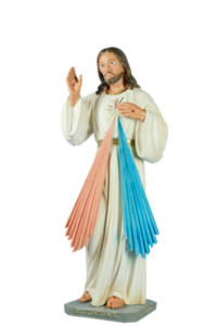 statua sacra di gesu misericordioso in resina alta cm 60 di produzione arte barsanti lucca